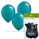 Pack of 10 Pearlised Teal 11 Inch Helium Quality Latex Balloons - PRODUCED & SOLD EXCLUSIVELY BY THE PARTYWARE SHOP