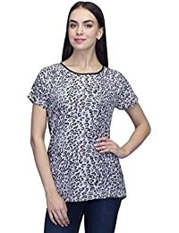 09eeb342243 Indietoga Women Plus Size Black and White animal Print Crepe Casual wear Top  For Girls