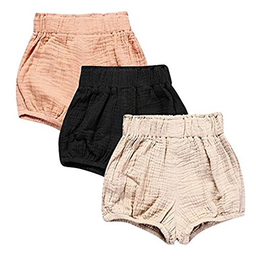 3 Pack of Kleinkind Baby Mädchen Jungen Cotton Linen Sommer Blend Cute Bloomer Shorts 1-2 Y