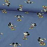 Stoffe Werning Baumwolljersey Lizenzstoff Mickey Mouse Jeansblau Kinderstoffe - Preis Gilt für 0,5 Meter