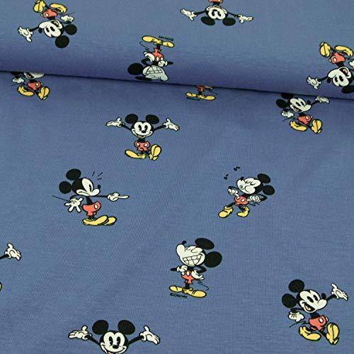olljersey Lizenzstoff Mickey Mouse Jeansblau Kinderstoffe - Preis Gilt für 0,5 Meter ()