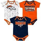 Denver Broncos NFL 'Playmaker' Infant 3 Pack Bodysuit Creeper Set