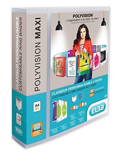 ELBA 100201797 10 x Kunststoff-Ringbuch polyvision Maxi DIN A4 4 Ring-Mechanik 6 cm breit Präsentations-Ordner Ring-Buch Hefter Plastikordner transparent