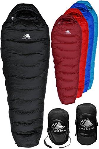 Hyke & Byke Snowmass Saco de Dormir Momia -15 Grados C Ultraligero - Saco de Dormir con Plumón y Bolsa de Compresión Liviana para IR de Excursión y Mochilero (Negro, Regular)