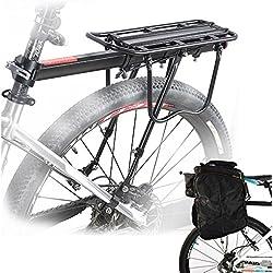 Universal Bicicleta Portabultos, Portaequipaje para Bicicleta, Accesorios Soporte de Equipo Footstock Bicicleta Portador Estante con Reflector-Acero Inoxidable, Max 75 kg de capacidad de carga-Negro