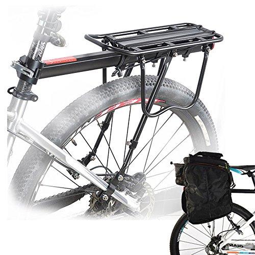Malayas Portaequipajes para Bicicleta Soporte Trasero para Bicicleta de Aleación de Aluminio Bicicleta Portabultos Ajustable con Reflector Rojo Capacidad de carga 50kg