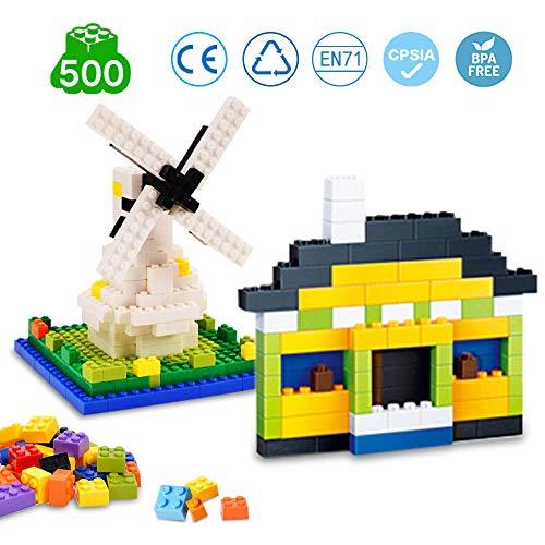 infinitoo Bausteine für Kinder 500 Stück Bauklötze Spielzeug Set Kinder DIY Spielzeug| Hochbau Ziegel Bunte Spielzeug| Sicher Glatt Kreatives Lernspielzeug Kindheit Spielzeug