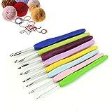 HeroNeo® 8 Size Multicolor Soft Silicone Handle Aluminum Crochet Hooks Knitting Needle