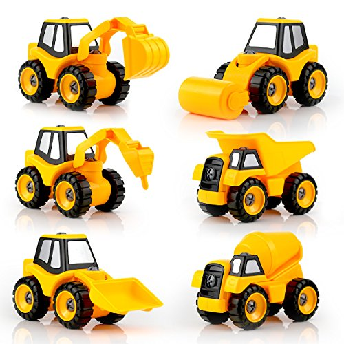 Construction Toys - QUN FENG 6 set of Engineering Car Truck Series Assembled DIY Construction Vehicles Educational Toys for Kids