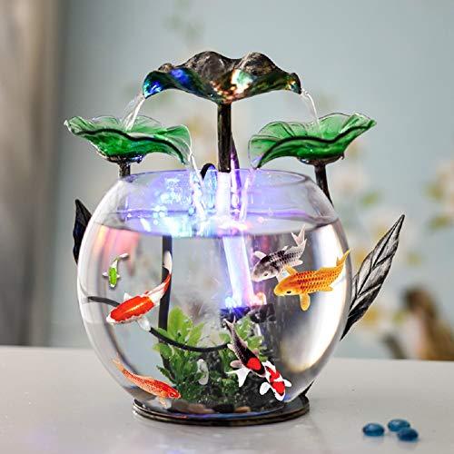 REWQ Aquarium Aquarium Kreative Glas Aquarium Wasser Ornamente Led Wohnzimmer Schreibtisch Oberfläche Europäischen Kleinen Brunnen Luftbefeuchter (Wasser Betta)