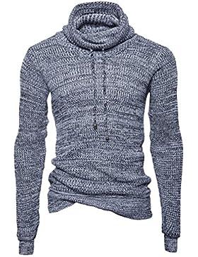 Honghu Casual Jersey para Hombre, Navidad Manga Larga Cuello Alto Suéter Top Tejido Sweater Gris 2XL