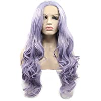 Pastel Lilac Lavender Purple Mixed Color Synthetic Lace Front Wigs For Women Cosplay Festival Holidays Body