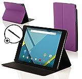 Forefront Cases® Google Nexus 9 8.9 Zoll Hülle Schutzhülle Tasche Bumper Folio Smart Case Cover Stand - Rundum-Geräteschutz und intelligente Auto Schlaf/Wach Funktion inkl. Eingabestift (VIOLETT)