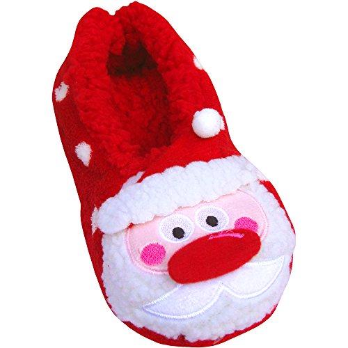 Kinder-Hausschuhe, flauschig, warm, Weihnachtsdesign Polka Dot Santa Claus