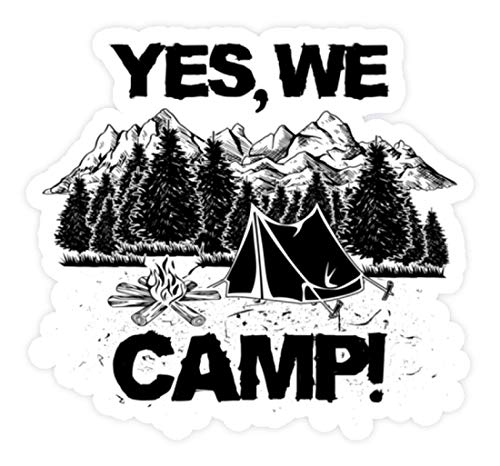 shirt-o-magic Aufkleber Camping: Yes we camp - Sticker -Einheitsgröße-Weiß