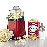 GOURMETmaxx Popcorn-Maschine 1000W In nostalgischem Retro-Design ( Zubereitung durch heiße Luftzirkulation - ganz ohne Öl, Extra schnell in nur 2-4 Minuten, wahlweise süßes oder salziges Popcorn )