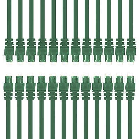 Gearit 0,5mètres Cat 6Câble Ethernet Cat6Snagless Patch réseau LAN–Ordinateur Cordon, Vert, [Garantie à vie] 3 Feet (24-Pack) Green