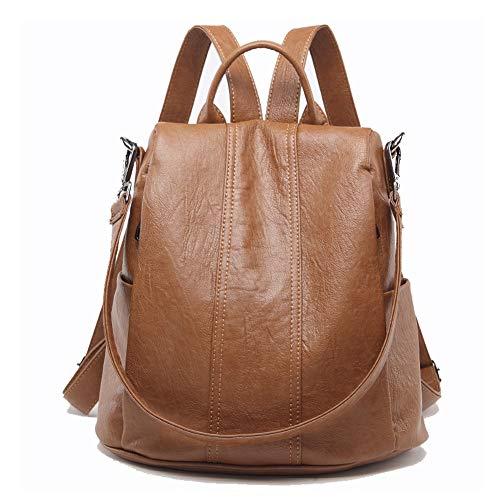 G&L Damen Rucksack Handtaschen Umhängetasche Reiserucksack Schulrucksack Backpack Schultertasche Pu Leder Wasserdichte Anti Diebstahl Tasche Für Schule Reise Arbeit,Brown