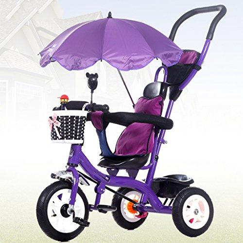 Cochecitos de bebé plegables Triciclo de niños de 8 meses y 5 años con sombrilla, manija de empuje...