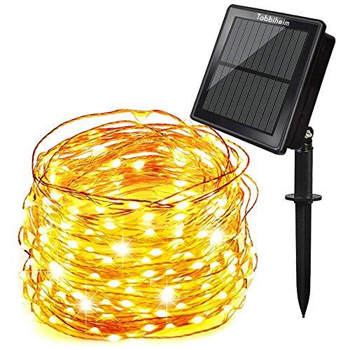 Tobbiheim Solar Lichterkette Super Lange Arbeitszeit mit USB Ladung Doppelladung 200 LED 22 Meter Kupferdraht 8 Modi Beleuchtung Wasserdicht IP65 für Garten, Terrase, Balkon - Warmweiß -