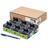 6 x Dymo S0722560 Original LabelWriter klein Namensschild Etiketten, 41 x 89 , 300/Rolle Schwarz Druck auf wei + Papermate Kugelschreiber Geschenk