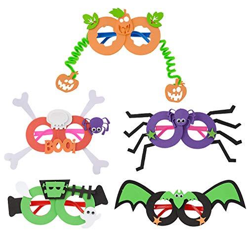 JUSTDOLIFT Party BriJUSTDOLIFT Party Brillen 5 Paar Lustig Halloween Brillen für Kinder Neuheit Brillen Party Halloween Kostüm Brille Unisex-Kinder DIY Scherzbrillen
