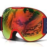 TOMSHOO Lunettes de Ski Masque de Snowboard Anti-buée Anti-UV Lunettes de Protection Lentille Détachable pour Homme et Femme 7 Couleurs