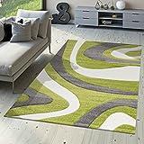 T&T Design Designer Teppich Modern Kurzflor Mallorca mit Wellen Muster in Grün Schwarz Weiß, Größe:200x290 cm