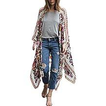 e3102972f53fb DEELIN Temporada De Verano Mujer con Estampado Floral Gasa Chal Flojo  Kimono Cardigan Top Cover Up
