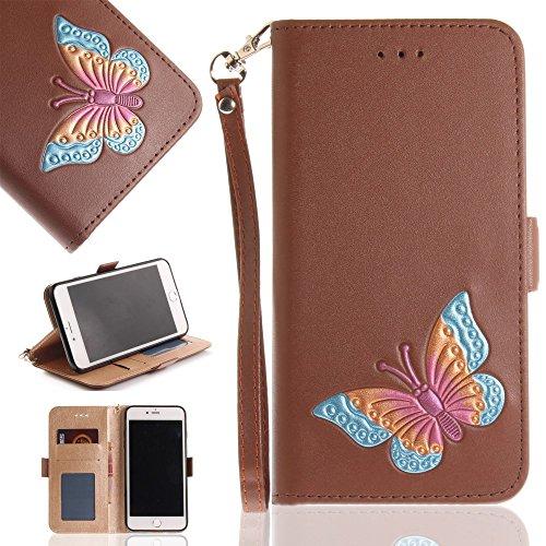 Tasche Hüllen Schutzhülle - case cover echtes Leder en PU Von Hand bemalt Butterfly stehen Braun für Apple iPhone 8 Plus,iPhone 7 Plus (Hand Von Bemalt Apple)