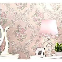 Cucsaist Tapete Europäischen Landhausstil 3D Geprägte Rose Blume Tapete Rosa  Tapete Warmes Schlafzimmer, 250 *