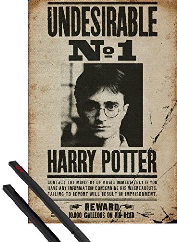 Poster + Sospensione : Harry Potter Poster Stampa (91x61 cm) Indesiderato N. 1 E Coppia Di Barre Porta Poster Nere 1art1®