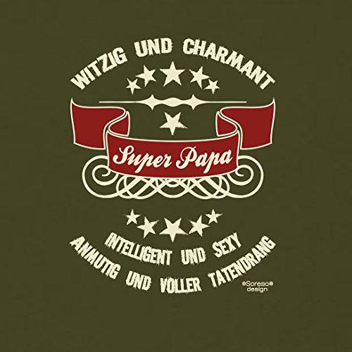 bequemes T-Shirt Herren Männer Motiv Super - Papa Geschenk-Idee, Vatertag, Weihnachten kurzarm Outfit, Kostüm Farbe: khaki Khaki