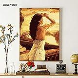OKOUNOKO Digitales Malen Nach Zahlen Zeichnungsfärbung Bilder, Schöne Frau, Modern DIY Kits, Kunstwerk Zuhause Einzigartig Dekoration Geschenk Frameless, 60X90Cm
