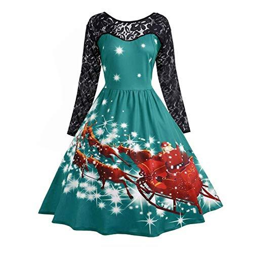 OverDose Damen Frohe Weihnachten Stil Frauen Vintage Print Langarm Weihnachten Abend Party Cosplay Elegante Slim Swing Kleid Geschenk(Y-Grün,M)