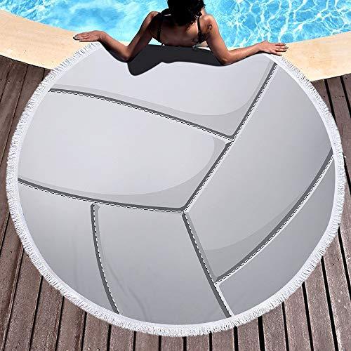 JUNYZSTJ Rundes Strandtuch,Weiße Schöne Volleyballkunst Starke Decke Große Microfiber Terry-Strand Roundie-Kreis-Picknick-Teppich-Yoga-Matte Mit Quaste - Gecko Yoga-matte