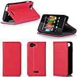 Wiko Kite 4G Tasche Leder Hülle rot Cover mit Stand -