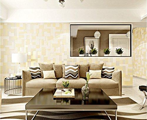 GaoHX Moderne Amerikanische Mosaik In Einfache 3D Geprägte Tapeten Schlafzimmer Wohnzimmer Tv Wand Hintergrundpapier,Beige