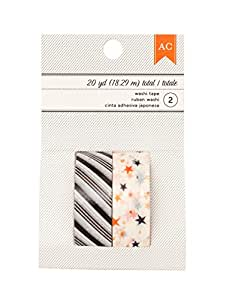 American Crafts Halloween Stripe & Stars Washi Tape, 20 yd, Black
