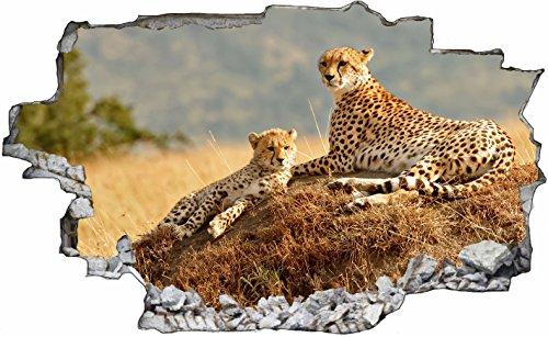 DesFoli Leopard Gepard 3D Look Wandtattoo 70 x 115 cm Wanddurchbruch Wandbild Sticker Aufkleber C297 (Gepard-druck-wand-bilder)