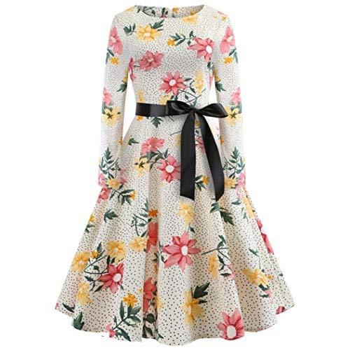 (LANSKIRT Damen 50er Vintage Retro Kleid Party Long Kurzarm Rockabilly Cocktail Abendkleider S-XXL)
