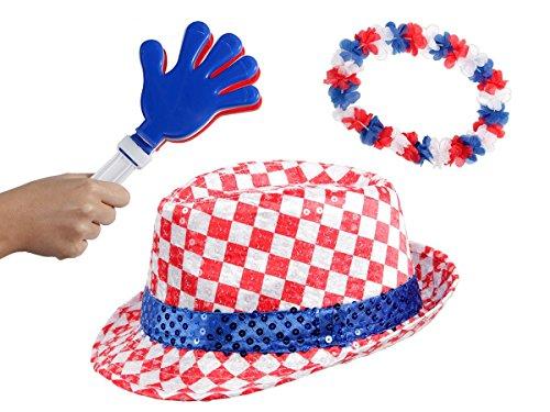 OFFERTA: Kit tifosi Croazia (FP-47) Set da 3 pezzi: 1 x cappello fedora con paillette, (Php Serie Parte)