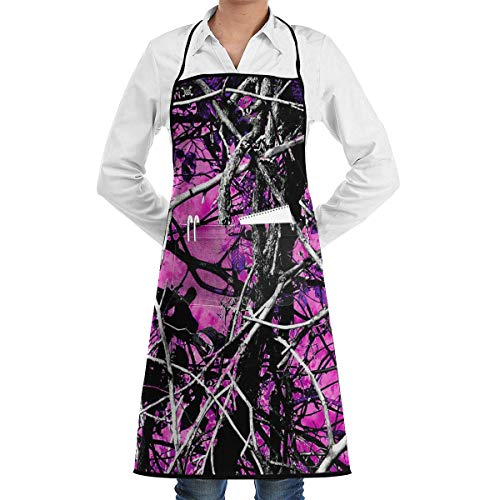 Vidmkeo Muddy Girl Camo Pink Athletic Bib Apron Chef Apron - with Pockets for Male and Female,Waterproof, Resistant to Droplets Easy Care Apron -