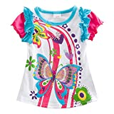 VIKITA Mädchen Baumwolle Kurzarm Schmetterling Blume Mustern T-Shirt S3916WHITE 4T