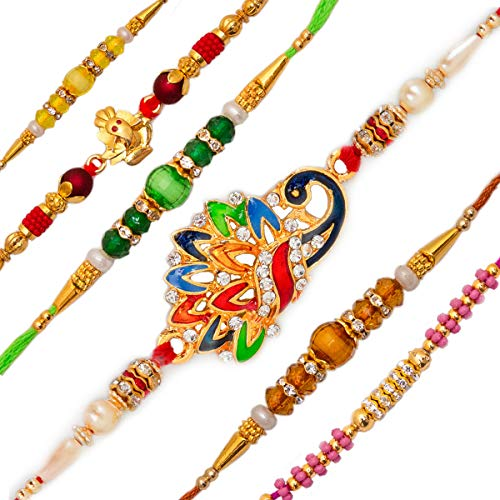 Elegant Golden Rakhi/Band for Beloved Brother (Rakhi Combo of 6)