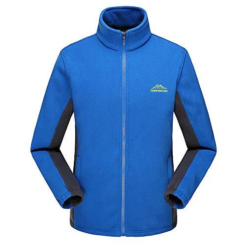 KPILP Strickjacke Herren Damen Überzieher Winter Funktionsjacke Warm Outdoor Sport Verdickung Reißverschluss Fleece Stehkragen Mantel M-5XL(Blau, 5XL)