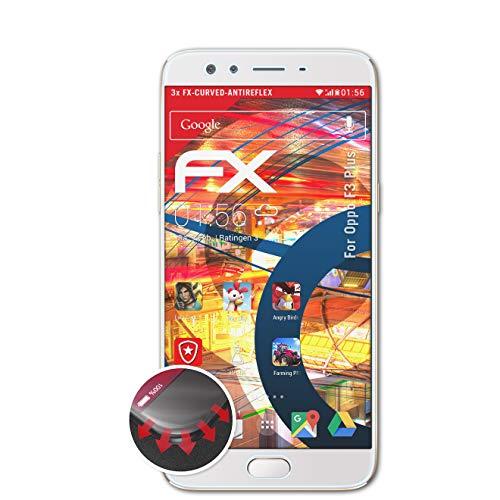 atFolix Schutzfolie passend für Oppo F3 Plus Folie, entspiegelnde & Flexible FX Bildschirmschutzfolie (3X)