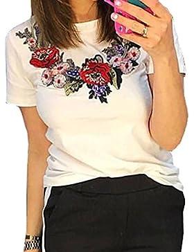 Youngirt Verano Mujer Blusa Moda Delgado Bordado Remata Camisas T-Shirt Casual Cuello Redondo Manga Corta Tops...