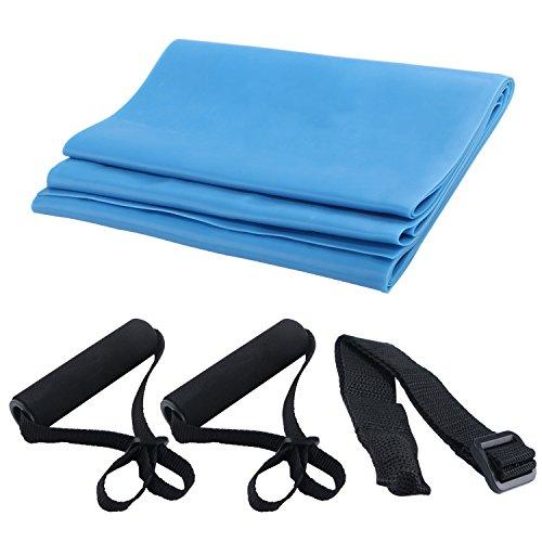 Rosa Bungee-seile (Fitness Stretch Elastic Band Widerstand Seil, tragbar Übung Set mit Natural Latex Yoga Gürtel, Türanker und Griffe für körperliche Therapie Beine & Explosive ENDURANCE Krafttraining, 4 PCS)