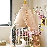 Nibesser Baldachin für Kinder/Babys 100% Polyester Gewebe Romantischer Betthimmel Moskitonetz Kinderbett für Kinderzimmer Hohe 240cm (Khaki)